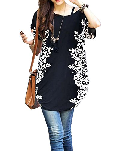 Relipop Women Summer Tunic Short Sleeve Casual Loose Blouse Top (Large, Black) (Women Tops Short Sleeve compare prices)