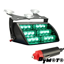 DT MOTO™ Green 18x LED Volunteer Emergency Personal Vehicle POV Strobe Warning Dash Light - 1 unit