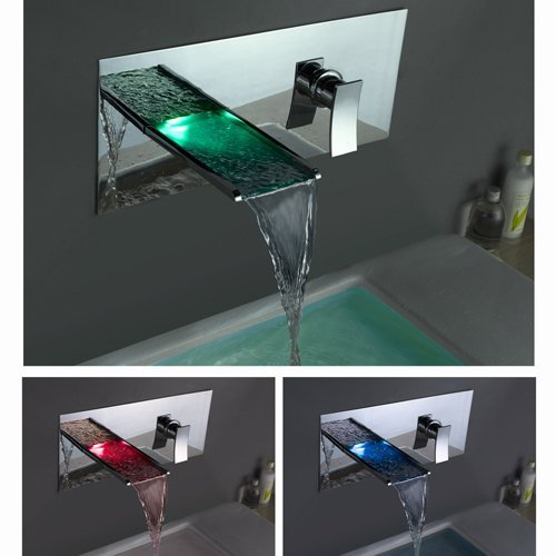How To Get Toogoo Single Handle Wall Mount Waterfall Bathroom Sink Faucet With Build In Led Lights Chrome Angelinaboldezx