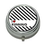 I Love Heart Running Pill Case Trinket Gift Box