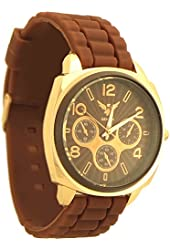 Geneva Women's Fashion style Quartz Rubber Watch brown and rose gold tone - 2