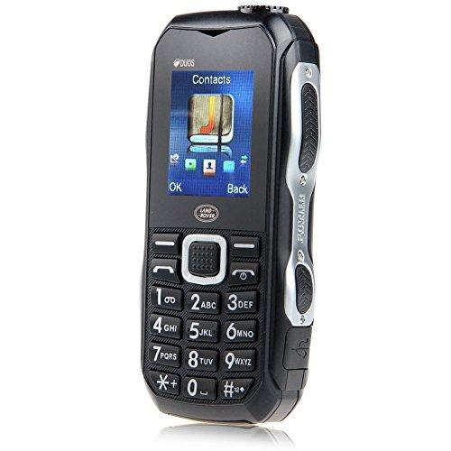 Padgene Outdoor SOS Handy Große Tasten Mobiltelefon Super Lang Standbyzeit Ohne Vertrag Blockhandy für Alter Senior mit Taschenlampe Kamera (DUOS-Schwarz)