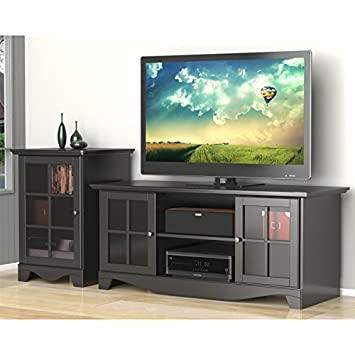 Modern Black 56 Inch TV Stand Set with Audio Stand FMP25278
