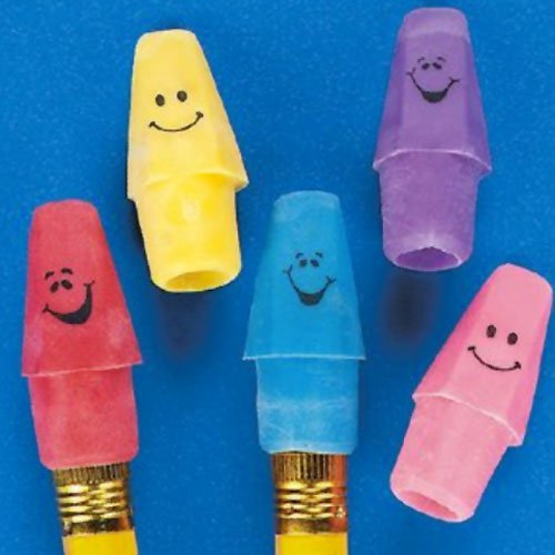 Rubber Funny Face Pencil Top Erasers (12 dz)