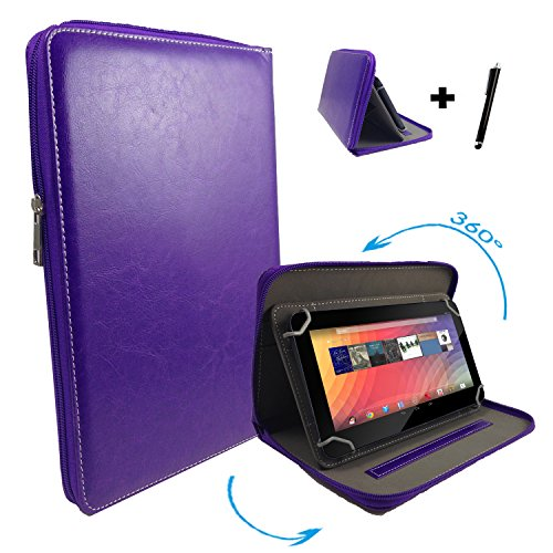 "Huawei MediaPad 10 FHD 3G 25,4 cm / 10.1 "" Tablet Pc Tasche mit 360 grad Drehfunktion - 10 Zoll Lila 360° Reißverschluss"