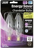 Feit BPQ40CFC/2 40-watt ES Halogen Clear Flame Tip Chandelier Candelabra Base  60-watt Equivalent, 2-Pack