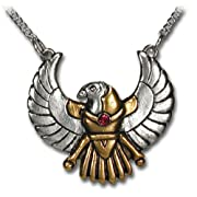 Horus Falcon Egyptian Pewter Pendant Necklace