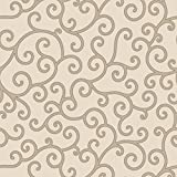 Walls and Murals Asian Swirls Pattern Traditional Wallpaper 4 Ft. x 10 Ft. (Light Brown, Brown)
