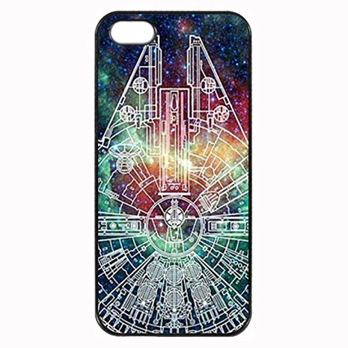 Millenium Falcon Star Wars Nebula Custom Image Special Designed for Apple iphone 5 5s phones case,Black Silicone Rubber TPU iphone5 5s Case Cover