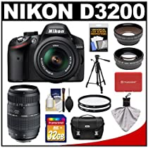 Nikon D3200 Digital SLR Camera & 18-55mm G VR DX AF-S Zoom Lens (Black) with 70-300mm Lens + 32GB Card + Case + Filters + Tripod + Telephoto & Wide-Angle Lens Kit