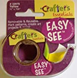 "Lee Removable Highlighter Tape, Crafters Easy See, 720"" L X 1/2"" W Roll, Yellow"
