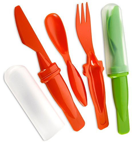 Plastic Camping Cutlery Set- 2 Pack 3 Pieces Includes Plastic Knife Spoon And Fork - Plastic Cover - Assorted Colors