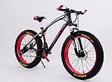 26インチ ファットバイク クルーザー自転車 FatBike 雪路 砂浜 (レッドxブラック)