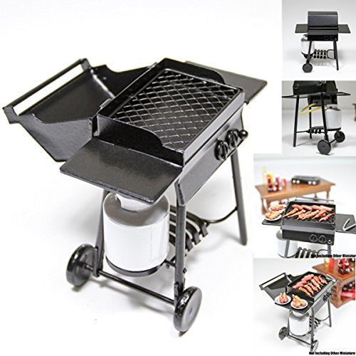 1:12 Iron Bbq Grill Miniature Garden Outdoor With Propane Tan Dollhouse Toy Big