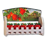 Ceramic Apple 3-D Wood Spice Rack w/ 5 Jars Set Apples NEW