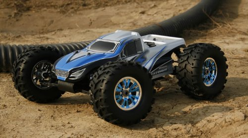 Professional 2.4Ghz 1/8th Scale Exceed RC MadStorm Monster Truck .28 Engine Nitro Power 100% Ready to Run Racing Edition [Alpha Blue]