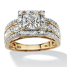 buy Princess-Cut White Cubic Zirconia 18K Gold Over .925 Sterling Silver Triple-Row Halo Ring