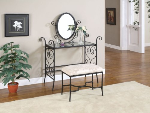 Metal Matte Black Vanity Mirror and Bench Set