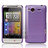 Purple HTC Salsa Fiber Hybrid Hard Mesh Protective Armour Shell Mobile Phone Case Cover With Free Ultra Clear LCD Screen Film Protector