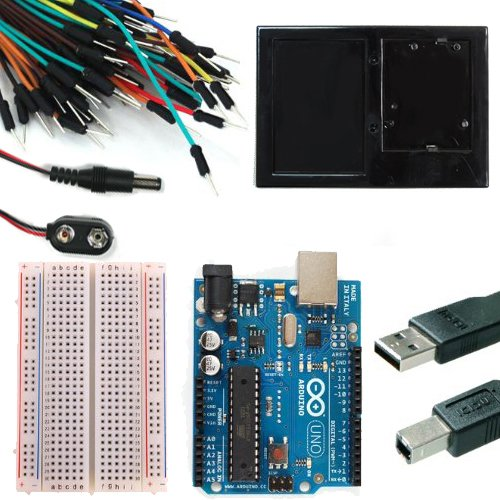 Starter Kit for Newsite Uno R3 – Bundle of 6 Items: Newsite Uno R3, Breadboard, Holder, Jumper Wires, USB Cable and 9V Battery Connector