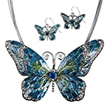 Blue Butterfly Pendant Necklace with Enamel Inlay and Matching Earrings Set by Jewelry Nexus