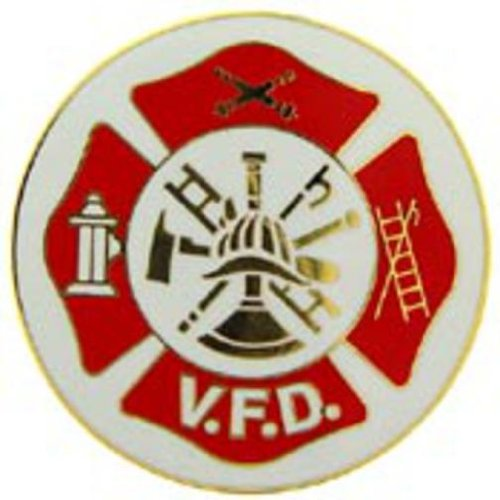 Volunteer Fire Department Shield Pin Red 1 1/2