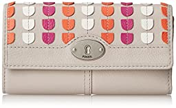 Fossil Marlow Patchwork Zip Wallet, Mineral Grey, One Size