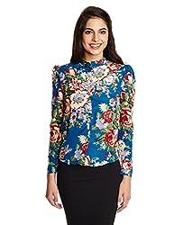 Kimyra Floral Print Button Down Shirt in Indigo Blue