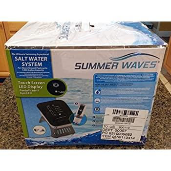 SUMMER WAVES SALT WATER SYSTEM FOR ABOVE GROUND POOLS W/ TOUCH LED DISPLAY