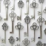 Mixed Set of 30 Large Skeleton Keys in Antique Silver - Set of 30 Keys