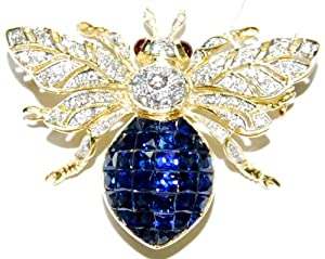 18K Yellow Gold Blue Sapphire Bee Brooch/Pin Diamond Jewelry