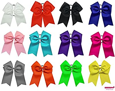 "7"" Jumbo Cheer Bow Big Hair Bows with Ponytail Holder Large Classic Accessories for Teens Women Girls Softball Cheerleader Sports Elastics Ties Handmade by Kenz Laurenz"