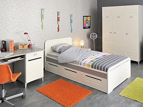 Kinderzimmer Lavoro 2, weiß / grau-silber 5-tlg. Schrank, Kinderbett , Schreibtisch jetzt bestellen