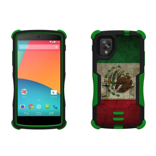 Beyond Cell Tri-Shield Durable Hybrid Hard Shell And Silicone Gel Case For Lg Nexus 5 - Retail Packaging - Black/Green