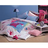 Twin Pink lady Duvet Cover and Pillow Sham Set