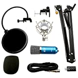 TONOR XRL to 3.5mm Podcasting Studio Recording Condenser Microphone for Computer with Adjustable Microphone Suspension Boom Scissor Arm Stand and Microphone Kits