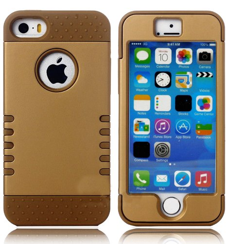 Mylife (Tm) Golden Bronze - Shield Armour Series (Neo Hypergrip Flex Gel) 3 Piece Case For Iphone 5/5S (5G) 5Th Generation Itouch Smartphone By Apple (External 2 Piece Fitted On Hard Rubberized Plates + Internal Soft Silicone Easy Grip Bumper Gel + Lifeti
