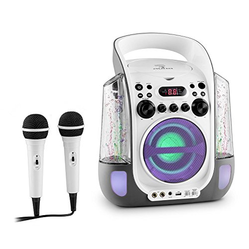 Auna Kara Liquida Impianto Karaoke CD USB MP3 Getto D'Acqua LED 2 x Microfoni Portatile