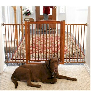 Extra Wide Tension Mount Pet Gate - Brown front-40918