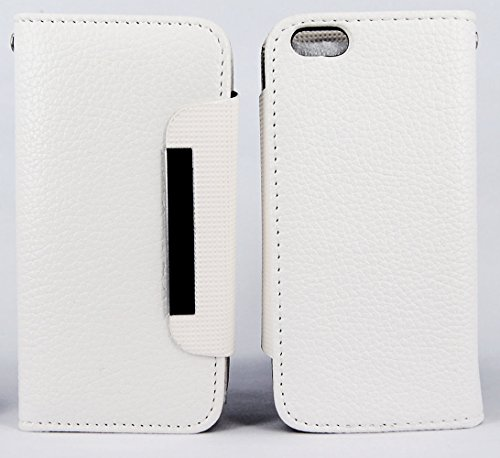 myLife Vibrant White {Luxury Texture Design} Faux Leather (Card, Cash and ID Holder + Magnetic Closing) Slim Wallet for Galaxy Note 3 Smartphone by Samsung (External Textured Synthetic Leather with Magnetic Clip + Internal Secure Snap In Closure Hard Rubberized Bumper Holder)