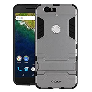 Cubix Robot Series Case Cover for Google Nexus 6P (Grey) Scratch Free Slim Hybrid Defender Bumper shock proof Case Cover With Stand