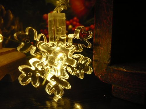 Orange Tree Trade Warm String Snowflake Led String Lights; Led Christmas Lights; Party Lights