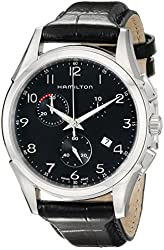 Hamilton Men's H38612733 Jazzmaster Stainless Steel Watch With Black Leather Band