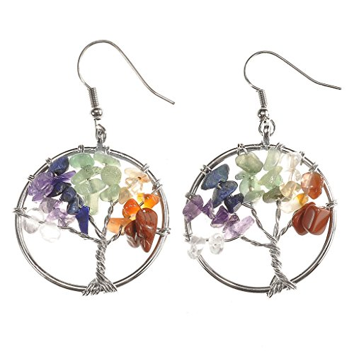 JOVIVI Women Copper Wire Wrap Gemstone Crystal Quartz Chip Bead Tree Of Life Hook Earrings Gift w/Box (Crystal Point Earrings compare prices)