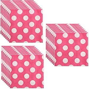 hot pink polka dot party lunch napkins 24
