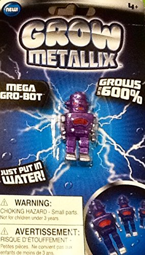 Grow Metallix Mega Gro-Bot ~ Purple ~ 600% Growing Robot ~ Gag Toy ~ Water Expandable Toy - 1