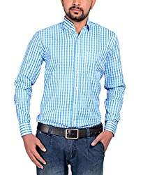 Riwas Collection Men's Formal Shirt (r-110_Turquoise_Medium)