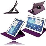 Etui Luxe Violet Rotatif pour Samsung Galaxy Tab 3 10.1 P5210 P5220 + STYLET et FILM OFFERTS