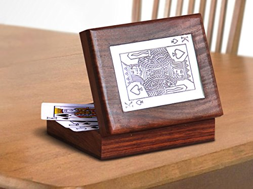 Single Deck Playing Cards Storage Box Holder Hand Crafted with Decorative Brass Inlay