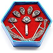 Sdwkit Japanese Katekyo Hitman Reborn! Cosplay Accessory Set Of 7 Vongola Family Metal Rings With Necklace And...